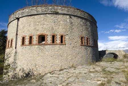 ancient pass: The old military fortification in Alps