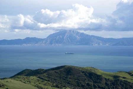 tarifa: Strait of Gibraltar  Jebel Musa, Morocco background Stock Photo