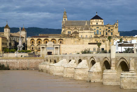 View of the Roman bridge and the city of Cordoba, Spain photo