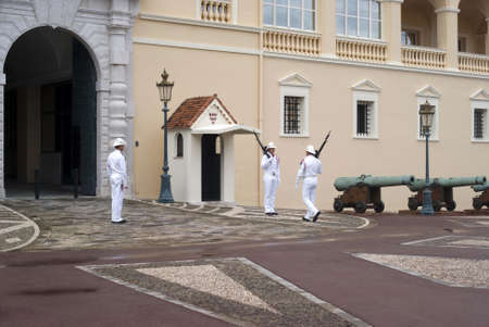 Principality of Monaco � July 19, 2011: Changing of guard on duty at royal palace