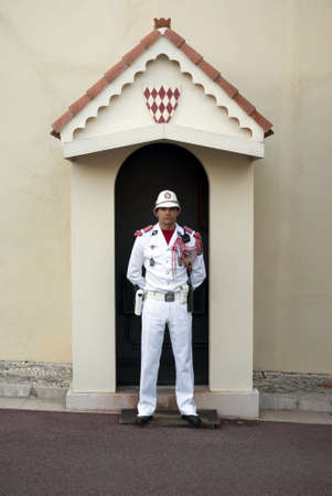Principality of Monaco � August 18, 2010: Guard on duty at royal palace