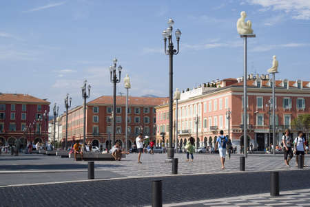 Nice, France � August 18, 2010: Central Square - Place Massena, new landmark of the town