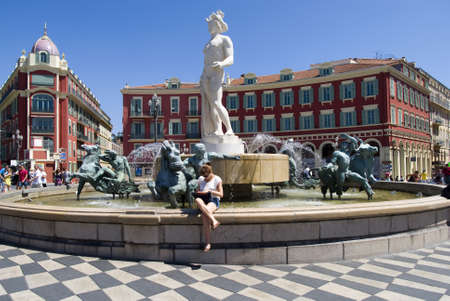 Nice, France � July 30, 2012: The Triton Fountain in Gardens Albert I