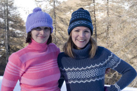 stocking cap: Portrait of young women in winter clothing