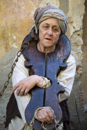 Taggia, Italy – February 26, 2012: Participant of medieval costume party  Stock Photo - 17249527