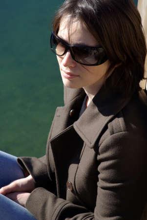 Close up of a pretty woman in sunglasses Stock Photo - 17243416