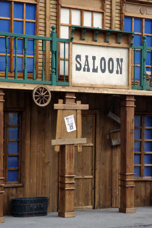 Menton, France – February 15, 2010: The reconstruction old western style bar saloon in a show an street