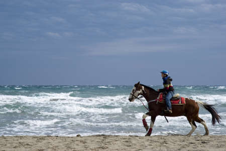 Imperia, Italy � October 10, 2010: Demonstrations amateur - Friends of the horse on the beach at Diano Marina