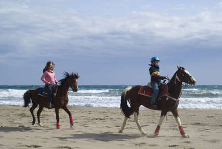 pastimes: Imperia, Italy � October 10, 2010: Demonstrations amateur - Friends of the horse on the beach at Diano Marina