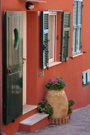 Varigotti, Italy � May 10, 2010: Fragment of a facade of a house