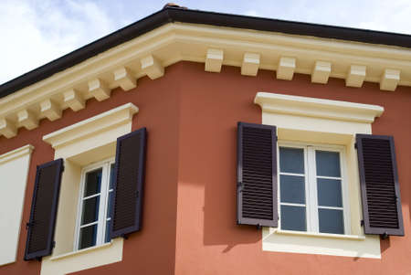 Serravalle Scrivia, Italy � July 19, 2012: The colorful mediterranean architecture Stock Photo - 17262256