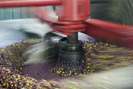 Tradicional molino de aceite de oliva prensado en la producción