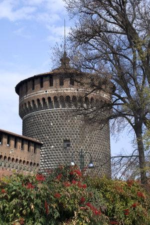 sforza: Milan, Italy � March 19, 2012: The tower of Sforza castle