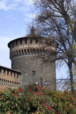 Milan, Italy – March 19, 2012: The tower of Sforza castle Stock Photo - 17262225