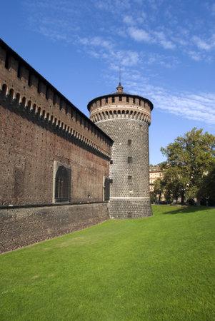 Milan, Italy – October 20, 2012: The tower of Sforza castle Stock Photo - 17262220