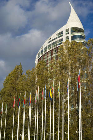 Lisbon, Portugal – November 28, 2010: Modern building in the Expo park
