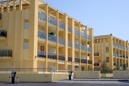 sanremo: San Remo, Italy � April 25, 2010: Exterior facade of a modern condominium building