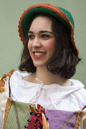 Taggia, Italy � March 3, 2013: Portrait of participant of medieval costume party