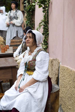 Taggia, Italy � March 3, 2013: Participant of medieval costume party