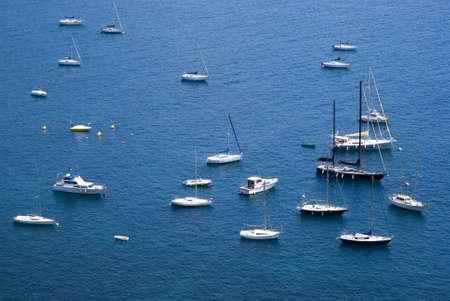 moorings: Yacht boats in Mediterranean sea Stock Photo