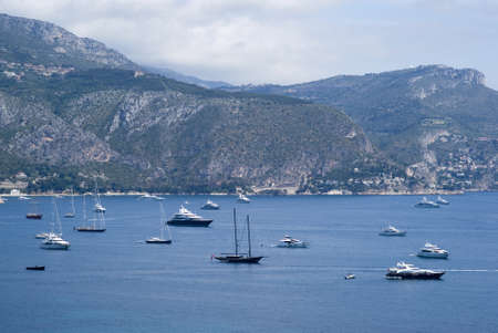The bay of Villefranche and Cap d Ail in the background Stock Photo - 20862458