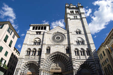 Cathedral of Saint Lawrence in Genoa, Italy 스톡 콘텐츠