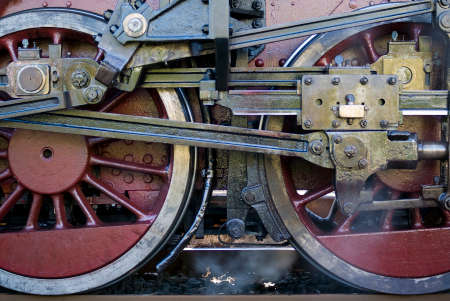Steam train wheels detail photo