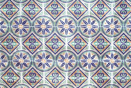 Portuguese azulejos, old tiled background photo