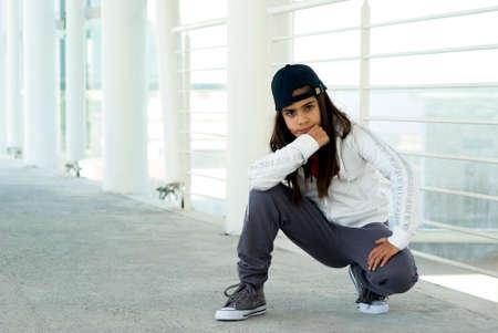 dance preteen: Mixed race girl posing Stock Photo
