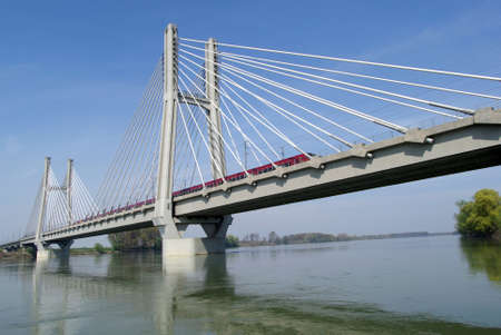 po: Cable-stayed railway bridge across river Po in Northern Italy Stock Photo