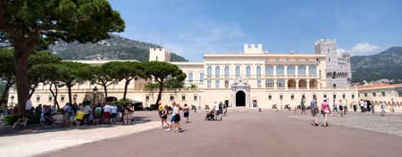 prince s palace of monaco: Monaco-Ville, Principality of Monaco – June 12, 2014  View of Prince s Palace - is official residence the prince of Monaco  Tourists in front