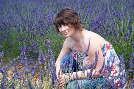 Woman posing in lavender field photo