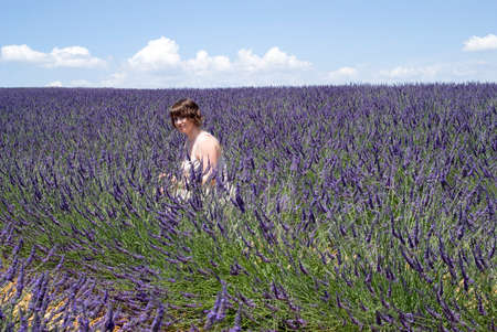 Woman in lavender field photo