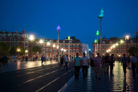 leading light: Nice, France - September 21, 2014: Massena Square in the night, just a short walk from the famous Promenade des Anglais. It is the main square of the City.