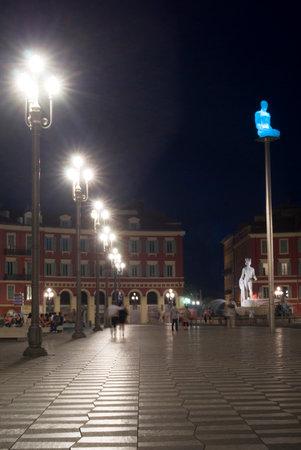 leading light: Nice, France. Massena Square in the night