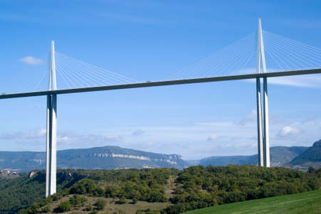 Millau, France - October 23, 2014: View of the Millau Viaduct, the tallest cable-stayed bridge over the Tarn valley in France, designed by the structural  engineer Michel Virlogeux and architect Norman Foster
