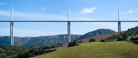 millau: Millau, France - October 23, 2014: View of the Millau Viaduct, the tallest cable-stayed bridge over the Tarn valley in France