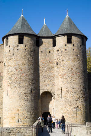 fortified: Carcassonne, France - October 24, 2014. The Fortified city of Carcassonne