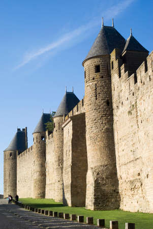 fortified: Historic Fortified city of Carcassonne, France Editorial
