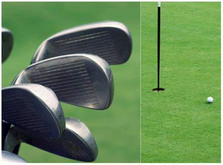 Close-up of golf clubs photo