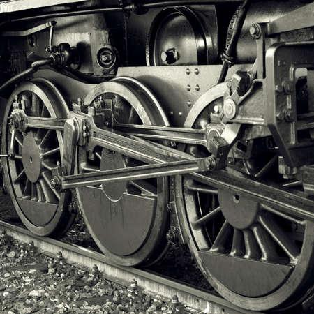 Steam locomotive wheels photo
