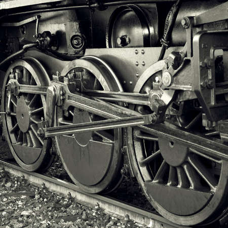 steam train: Steam locomotive wheels