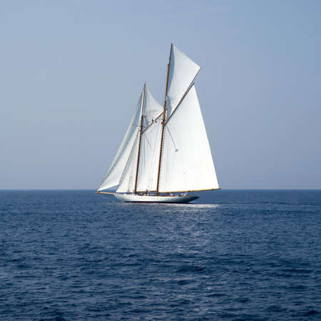 sailing yacht: Sailboat the old style on Mediterranean sea Stock Photo
