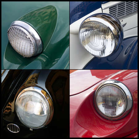 of yesteryear: Imperia, Italy, June 7, 2014. Collage of detail the Classic cars cruising on the road in Imperia during raid of vintage cars Editorial