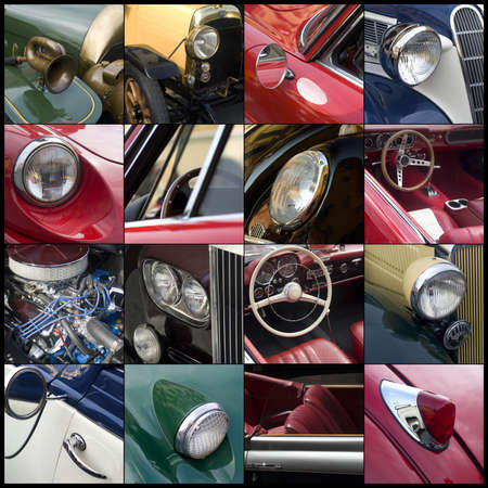 outside machines: Imperia, Italy, June 7, 2014. Collage of detail the Classic cars cruising on the road in Imperia during raid of vintage cars Editorial