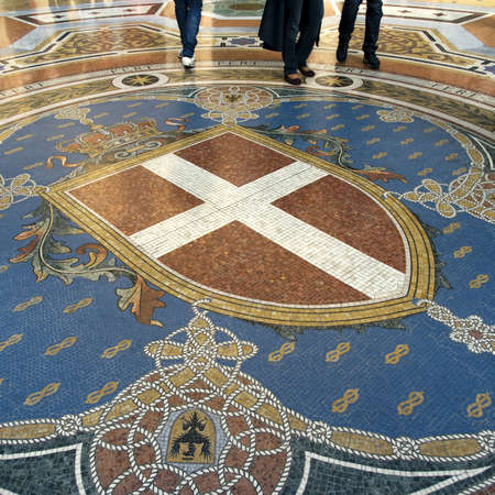 vittorio emanuele: Milan, Italy March 22, 2012: Detail from mosaic floor of Vittorio Emanuele Gallery in Milan