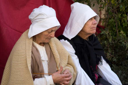 re enactment: Taggia, Italy. March 1, 2015. Participants the medieval costume party