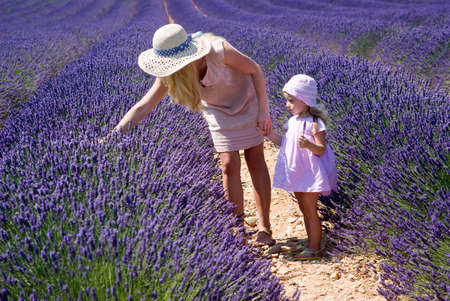 mum and child: Mother with daughter in lavender field