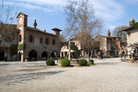 piacenza: Grazzano Visconti, Italy  March 28, 2014. Grazzano Visconti - medieval village in Province of Piacenza