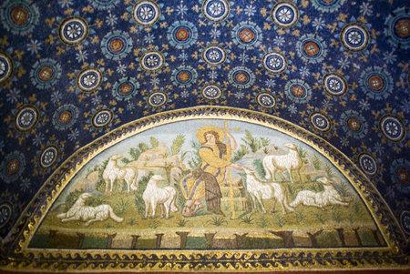 good shepherd: Good Shepherd Mosaic, Mausoleum of Galla Placidia, Ravenna, Italy Editorial